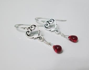 Red Heart Earrings, Love Earrings, Silver Heart Earrings, Valentine's Day Earrings, Red Czech Glass Earrings, Ruby Glass Earrings