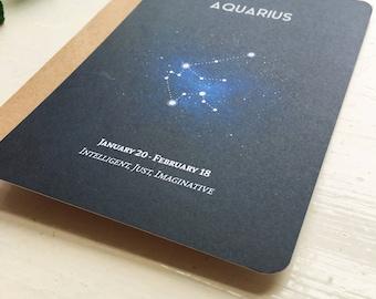 AQUARIUS postcard. aquarius constellation zodiac star sign - postcard card greetings birthday gift art a7 - aquarius postcard - zodiac card