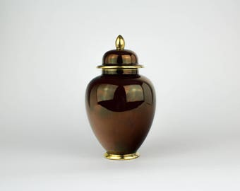 Burgundy Carlton Ware Ginger Jar  - Urn -  Porcelain - Iridescent - Made in England - Chinoiserie - Vintage