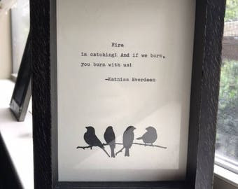 Vintage Hunger Games Quote Typed on Typewriter