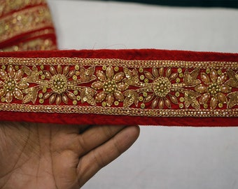 Red Saree Border Velvet Fabric Trim By The Yard  Laces and Trims Indian Embroidered Wholesale Trimmings Ribbon Indian Sari Border gold