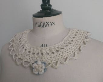 Vintage crochet Pearl Choker crafted yarn blended hemp adorned with a pink hand made necklace