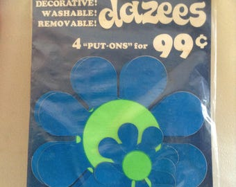 1968 Flower Power Blue and Green Decals, Stickers or Dazees