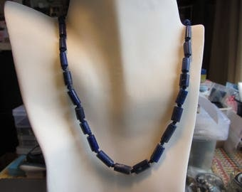 """Natural Lapis Lazuli Barrel Shape Beaded Necklace (Also Used Just For Beading) - 20.25""""- 28.97g"""