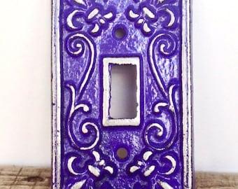 ON SALE Fleur de Lis Light Switch Plate - Lightswitch Cover - Fleur de Lis Decor - Wall Accents - Light Switch Cover - Purple Wall Decor - V