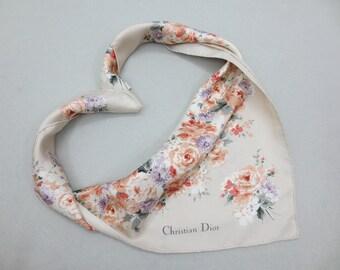 Christian Dior Silk Scarf Christian Dior Echarpes Floral Print 30.5x31