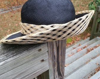 Made in Italy straw hat, Platania straw hat, womens hat, black straw hat