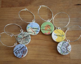 France Cities Handmade Recycled Map Set of 6 Wine Charms