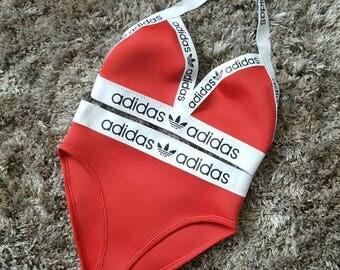 Reworked high leg adidas bikini set
