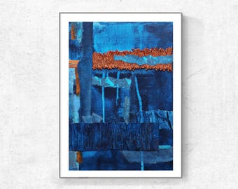 Blue Abstract Art, Printable Wall Art, Instant Download, Abstract Art, Calming Wall Art, indigo and orange, copper, blue abstract, modern