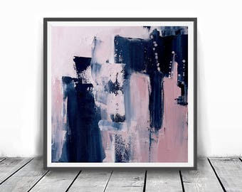 Abstract printable art, Navy blue brush strokes and light pink, Modern art prints, Abstract paintings ,larger abstract art, Scandinavian art