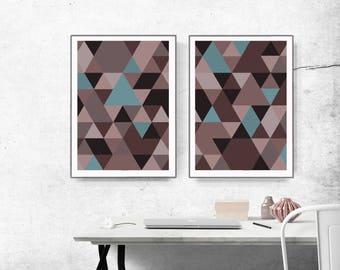 graphic design art, abstract wall art, modern art, scandinavian art, abstract  triangle, abstract set of 2, Nordic wall art, brown blue
