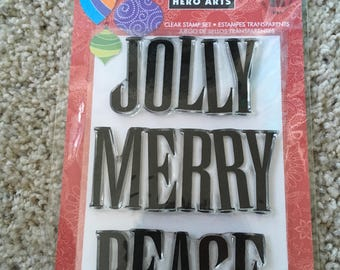 """Hero Arts """"Jolly"""" clear stamp set, new"""