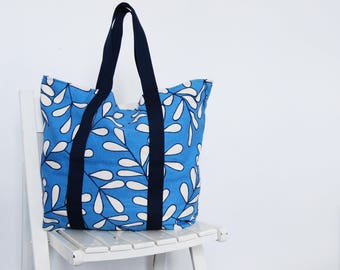 Blue and White leaf print Tote / Market bag