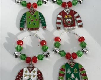 Set of 4 ugly sweater themed Christmas wine glass charms