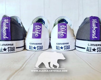 Wedding Converse, Custom Converse, Personalized Converse, His And Hers Converse, Converse With Swarovski, Crystal Converse, Matching.
