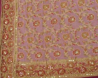 Vintage Sari Saree Lavender Red Sequins Embroidered Silk Fabric Crafts
