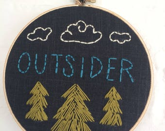 "6"" Hoop Art Hand Embroidered ""Outsider"""