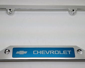 Chevrolet, Billet Aluminum License Plate Frame, Clear Anodized Frame