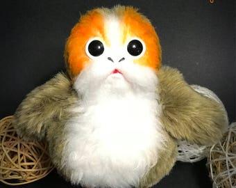 Cutie Porg from The Star Wars The last Jedi. Clay plush toy. Stuffed soft doll