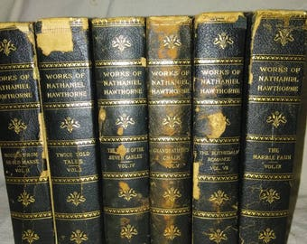 6 volumes The Works Of Nathaniel Hawthorne edition De luxe # 476 of 1000 copies