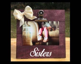 Sisters - Puppy/Dog Sibling - New Baby Birth Announcement - Family Gift - Picture/Photo Clip Frame - Custom Made - Announcement Frame