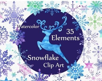 "ON SALE 30% Watercolor Snowflakes clipart: ""CHRISTMAS Clipart"" Winter clipart Watercolor deer Holiday Clipart Christmas cards Blue Purple Sn"