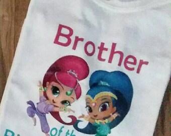 Brother/ sister of the birthday girl.  Shimmer and shine birthday shirts.