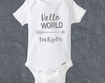 Hello World Onesie® - Cute Onesie® - Arrow Onesie® -Custom Baby Onesie® - Shower Gift -Baby Shower Gift -Baby Gift Idea