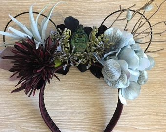 Haunted Mansion Ears, Mickey Mouse Ears, Floral Wire Ears, Haunted Mansion Mickey Mouse Ears, Halloween Ears