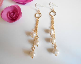 white freshwater cultured Golden Pearl Earrings