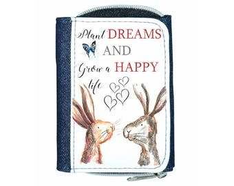 Rabbit quote purse, navy purse, denim purse, rabbit gift, rabbit wallet, rabbit purse, rabbit quote, inspirational quote
