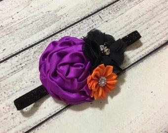 Halloween baby Headband ,Halloween Headband ,Orange black purple Baby Headband , Newborn Headband ,Halloween Girl Headband