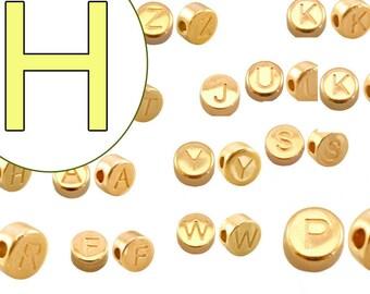 alphabet bead H 7mm gold plated #3865