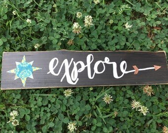 Chalkboard, Wood Signs, Rustic, Wood Plaque, Hand Lettered,  Faux Chalkboard, Explore