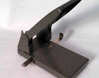 Vintage Two Hole Paper Punch, Metal Hole Puncher, Boston Office Equipment, Retro Desktop, Prop, Industrial
