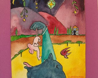 """Saturated watercolor (mythology) """"Saturn eating his children"""""""