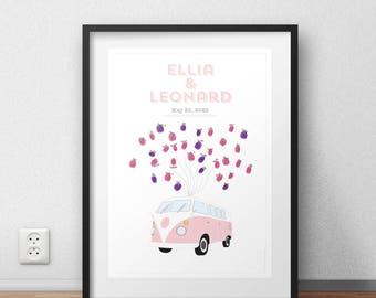 Bus Combi Volkswagen wedding guestbook poster prints