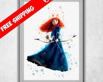 Merida Brave Print, Disney Brave Painting, Watercolour Princess, Disney Merida, Nursery Wall Art Decor, Nursery Decor Girl, Free Shipping