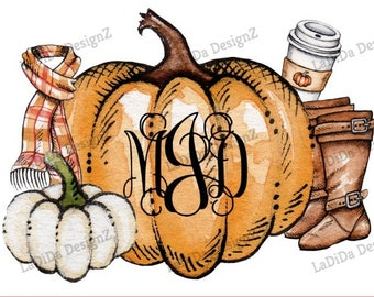 Fall Pumpkin Monogrammed Sublimation Transfers - Coffee Boots Scarf