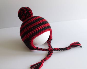 Crochet Baby UGA Hat, Newborn Earflap Hat, Infant University of Georgia College Football Hat, Baby Gift, Photography Prop, Ready to Ship