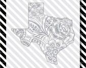 Texas Rose svg cut file - Floral Texas Cutfile - Texas Silhouette dxf - Texas vector art - Texas flowers svg - Texas svg - svg cut file