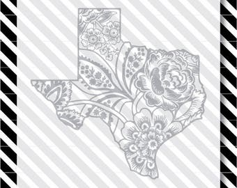 Texas Rose svg cut file - Floral Texas Cutfile - Texas Silhouette dxf - Texas vector art - Texas flowers svg - Texas svg - svg cut file