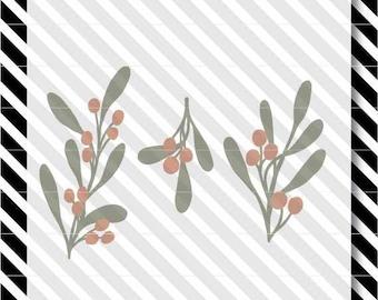 Christmas Mistletoe svg - Mistletoe svg cut file - Christmas svg cut file - Mistletoe dxf cut file - Christmas dxf cutfile -Mistletoe Vector