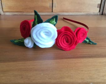 Red Alice Hairband With Red And White Felt Roses