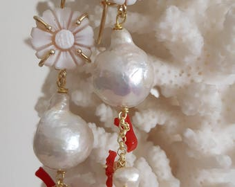 Sardonic cameo drop earrings, Baroque pearls and coral, Silver earrings