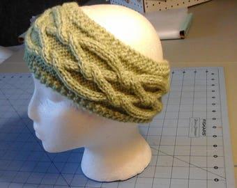 Green Cabled Headband, Earwarmer, Handknitted Headband, Girl's Earwarmer