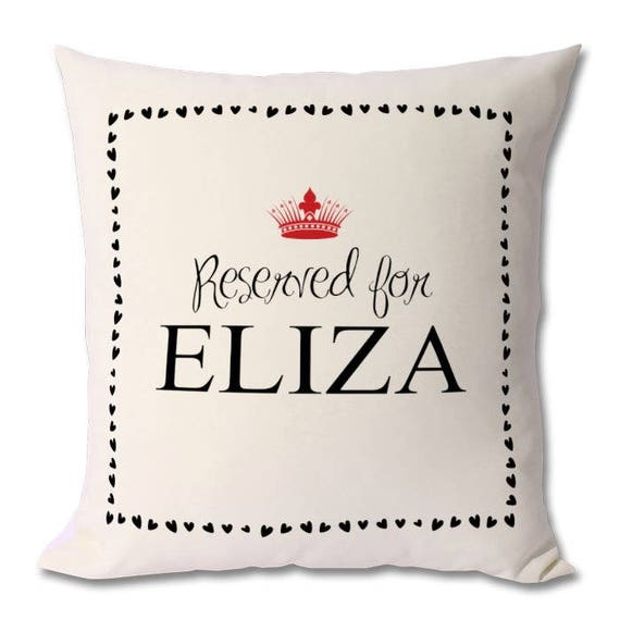 Personalised 'Reserved For' Cushions - Any family member or pet. Zipped cover and cushion included