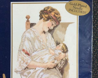 """Bessie Pease Guttman,  Bucilla """"The Great Love"""" Counted Cross Stitch Kit , New 42073 CCS Multi lingual Gutmann Mother and Child , Art deco"""