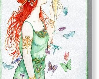 """Vintage Art Nouveau Lady """"Party Time"""" Canvas Print - Size 8x12 Inches A4"""